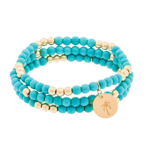 taudrey beauty and the bead turquoise gold beaded bracelet set