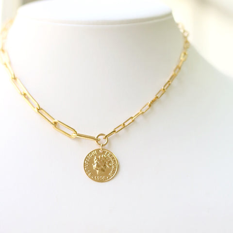 taudrye beauty queen necklace gold links faced coin detail