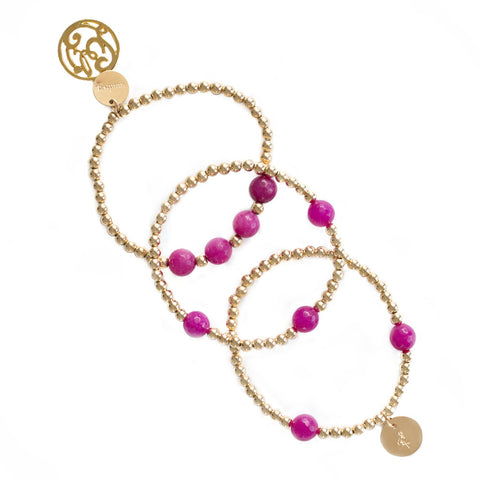 taudrey luli fama collaboration beaded bracelet gold beads red fuchsia accents personalized charm