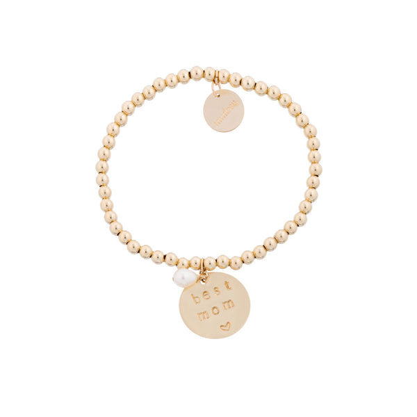 taudrey best mom Mother's Day gift beaded bracelet gold beads charm hand stamped with best mom