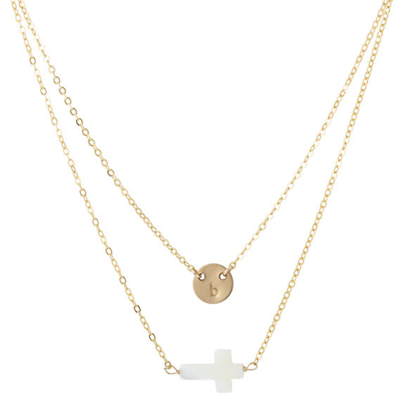 taudrey beyond blessed pearl cross personalized necklace