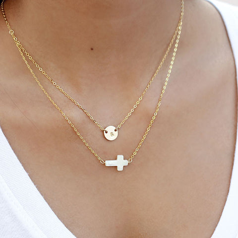 taudrey beyond blessed necklace personalized gold pearl cross