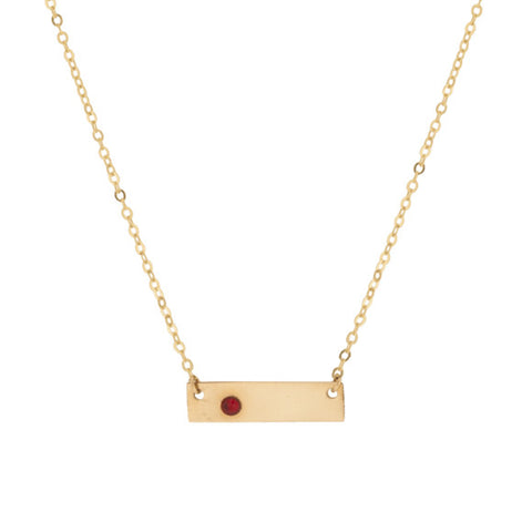 Taudrey Skinny Birthstone Plate Gold Necklace