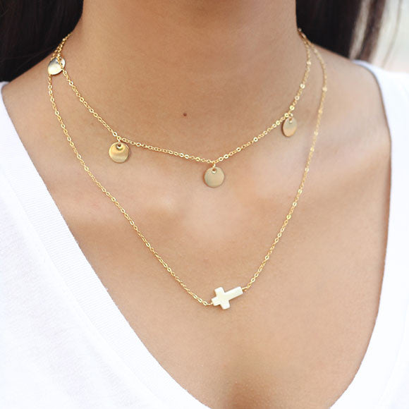 taudrey blessed necklace gold pearl cross styled with five golden rings necklace