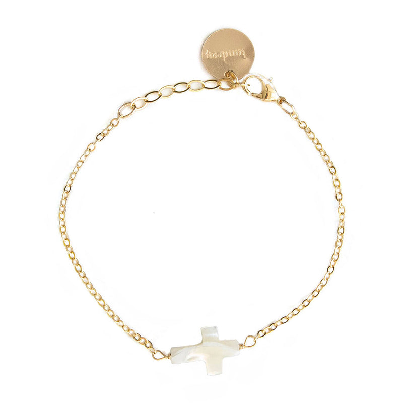 taudrey blessed bracelet dainty gold pearl cross