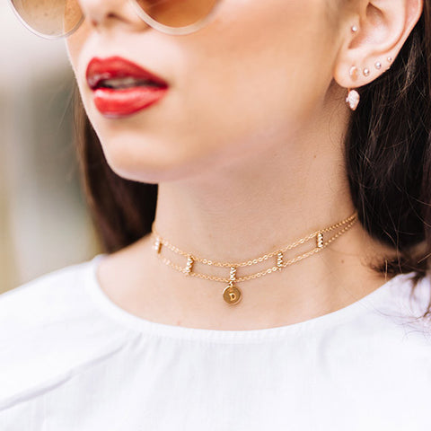 taudrey blogger collection merida choker by blogger daniela ramirez nanys klozet two layer gold bead personalized celestial choker