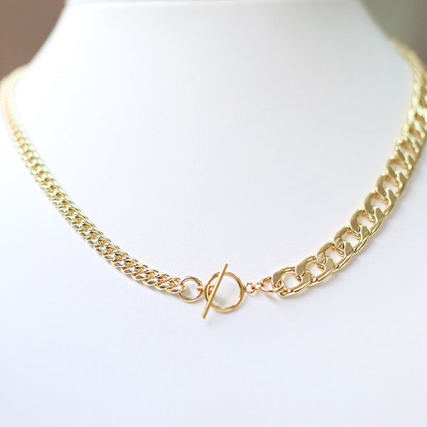 taudrey blurred lines necklace thick thin chain gold filled toggle closure