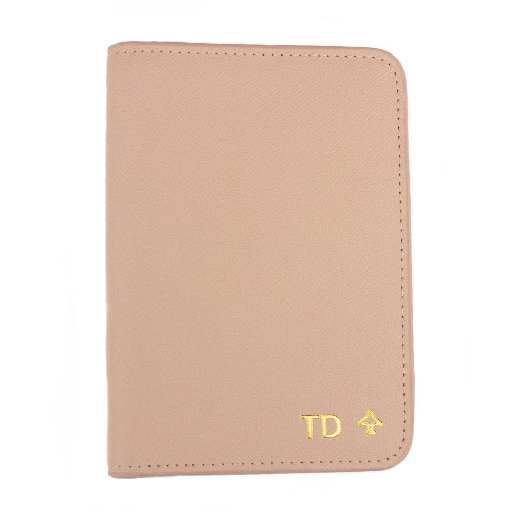 taudrey out of office saffiano cross hatch leather embossed personalized passport  holder blush navy 69dd9f4aba73