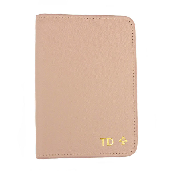 taudrey out of office saffiano cross hatch leather embossed personalized passport holder blush navy