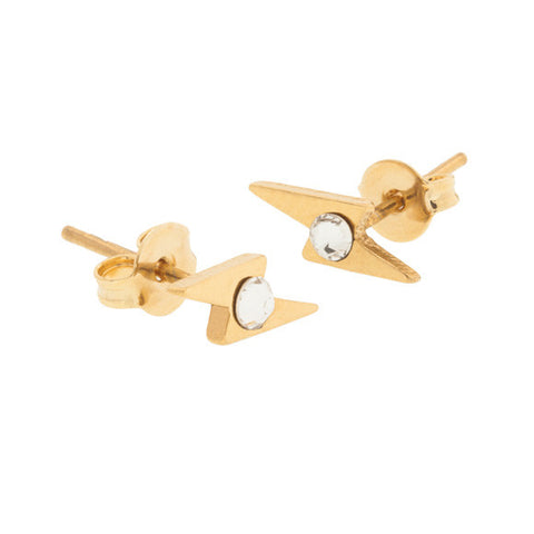 taudrey bolt studs gold earrings lightening bolt shape