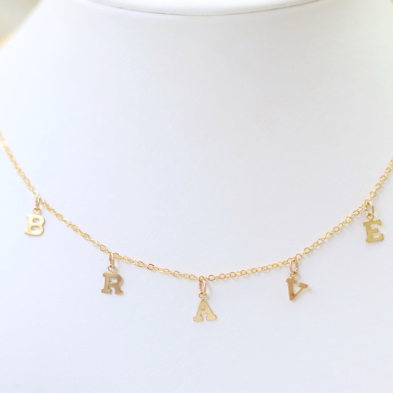 taudrey brave necklace gold hanging letter charms