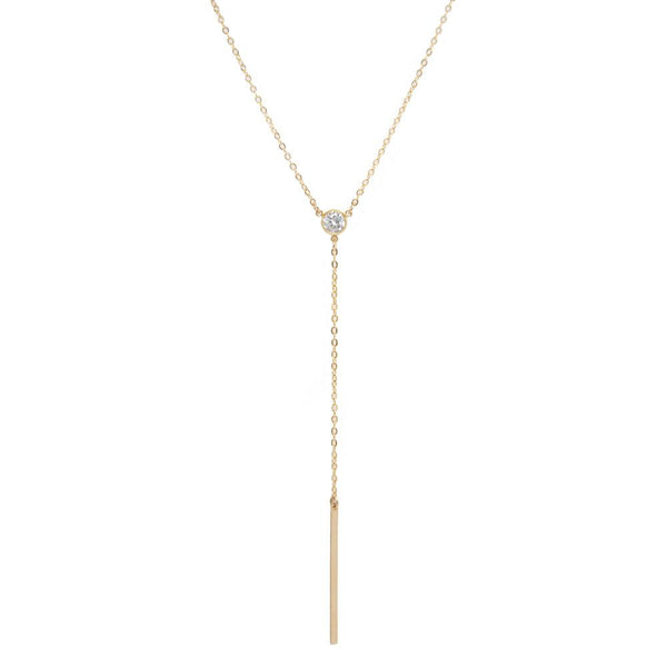 taudrey break the ice lariat style necklace plunging crystal detail gold bar