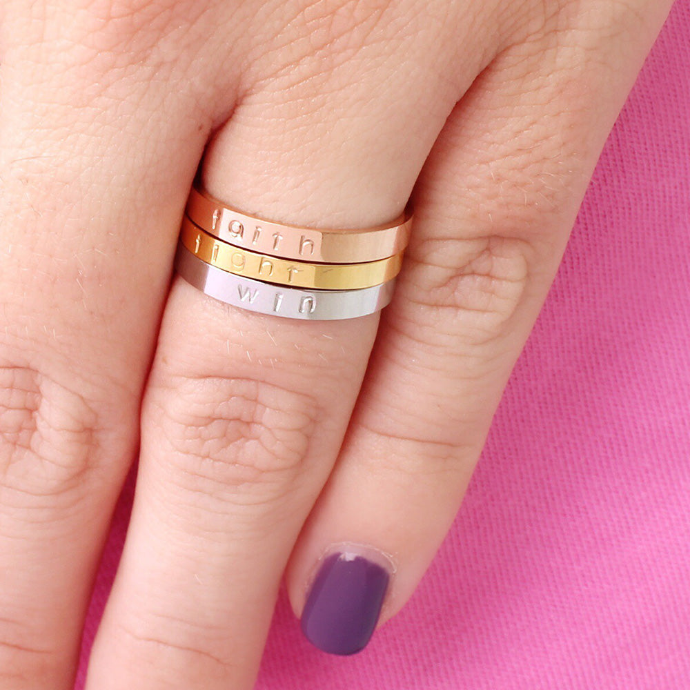 Faith Fight Win Ring Stack: Breast Cancer Awareness Hand Stamped Set ...