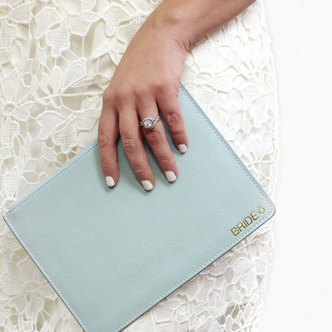 bride gift taudrey cross hatch bride vibes personalized embossed leather pouch clutch blush pink sea foam