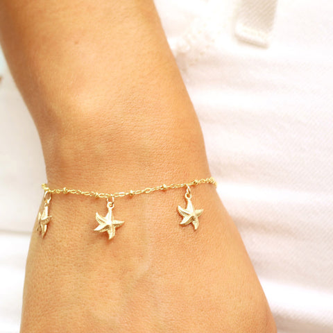 taudrey bright days ahead bracelet anklet starfish gold cowrie shell details