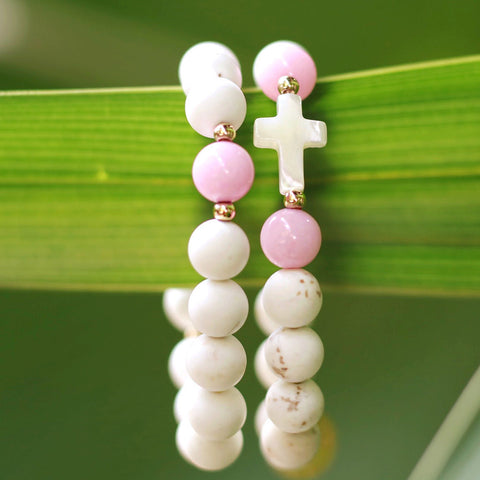 taudrey kids bright faith white beads pink beads pearl cross detail