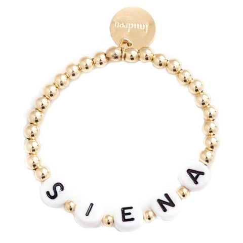 taudrey kids letter block bracelet personalized gold rose silver