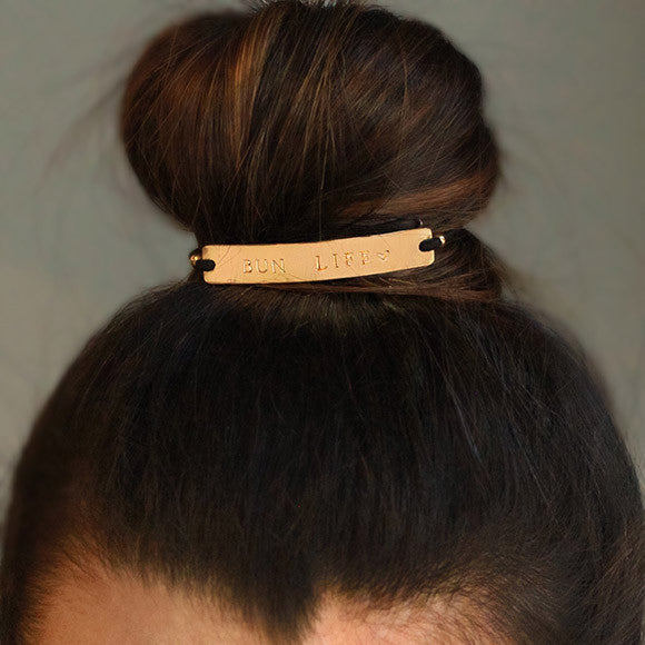 taudrey buns and roses personalized gold hair cuff