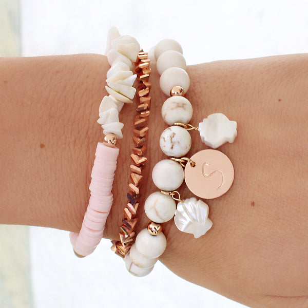 taudrey buried treasures bracelet set white pink rose shell theme personalized charm