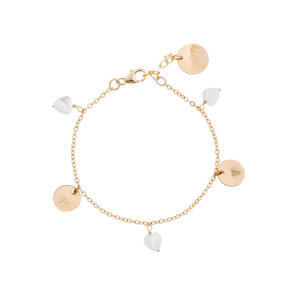 taudrey charming hearts dainty gold bracelet with personalized gold charms and hanging heart shaped pearls