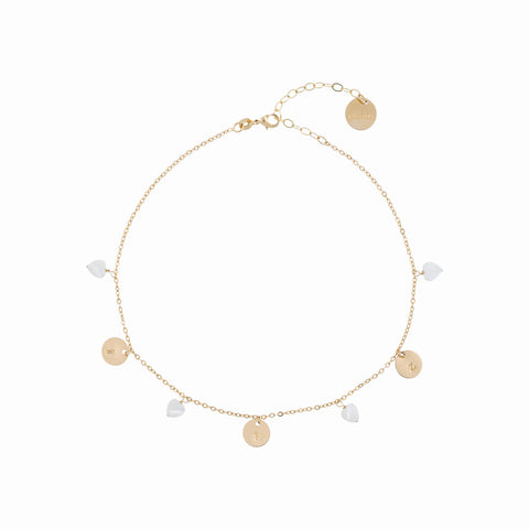 taudrey charming hearts choker dainty gold necklace with personalized gold charms and hanging heart shaped pearls