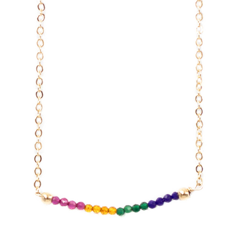 taudrey chasing rainbows necklace dainty gold chain gemstone crystal bead accents