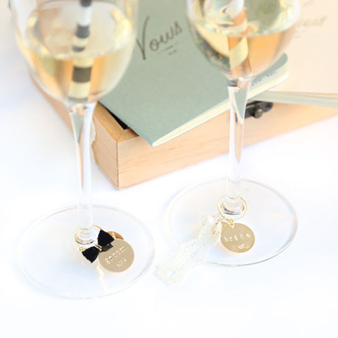 taudrey cheers to love bride groom wine champagne glass stem toast charms bow tie lace detail