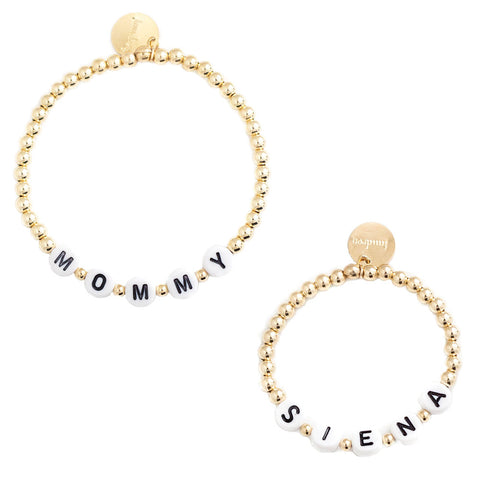 taudrey mommy and me letter block beaded bracelet set personalized matching bracelet set