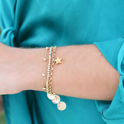 taudrey gold standard bracelet set hello olivia blog collaboration olivia rodriguez three piece personalized dainty bracelet set