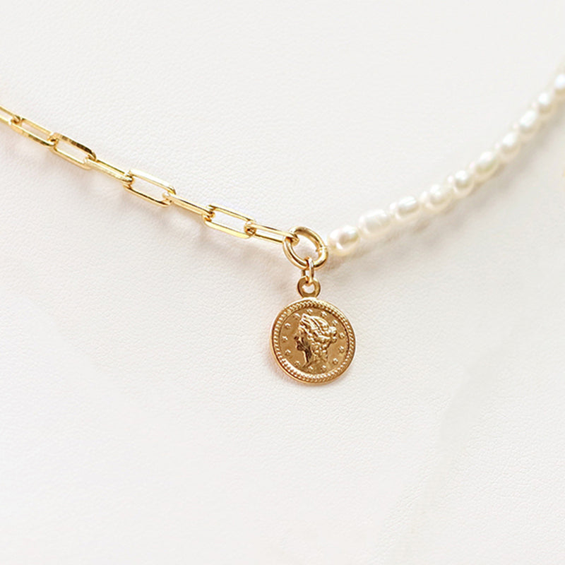 taudrey come together pearl wide chain necklace face coin personalized charm detail handcrafted