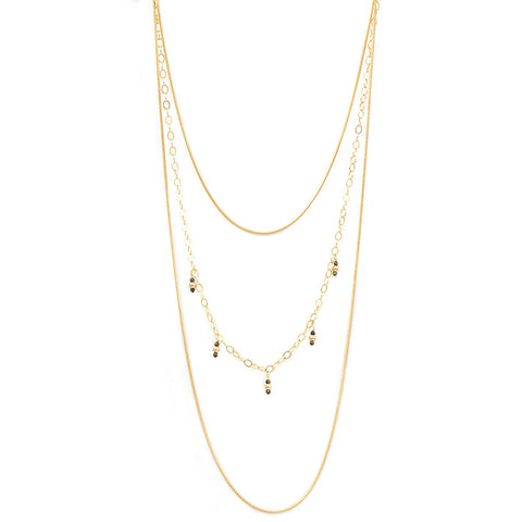 taudrey crowd pleaser layered gold necklace mixed materials grey slate crystal bead accents