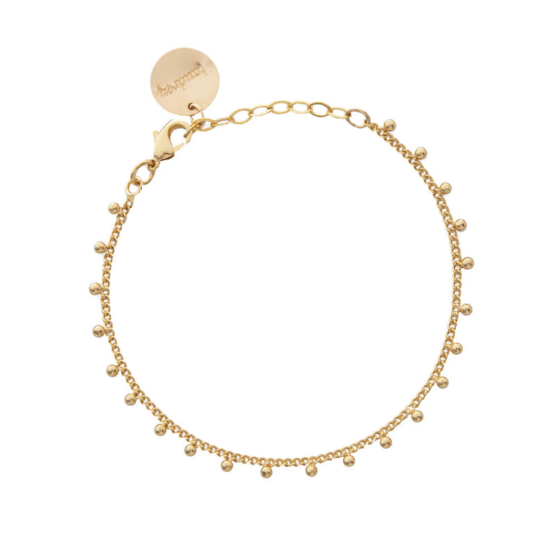 taudrey gold filled dainty nomad bracelet adjustable chain fringe bead details