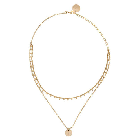 taudrey dainty nomad layered choker gold bead fringe details personalized charm
