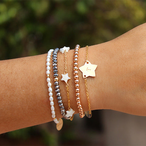 taudrey star studded star themed dainty arm party bracelet set stack