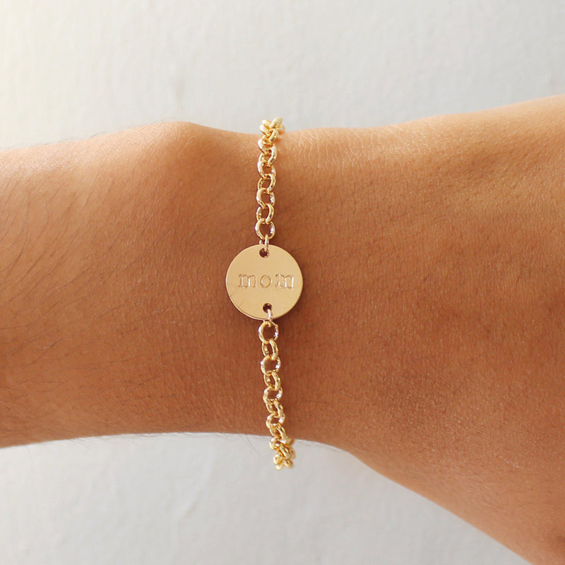 taudrey dear mom bracelet adjustable gold chain accented with hand stamped mom charm