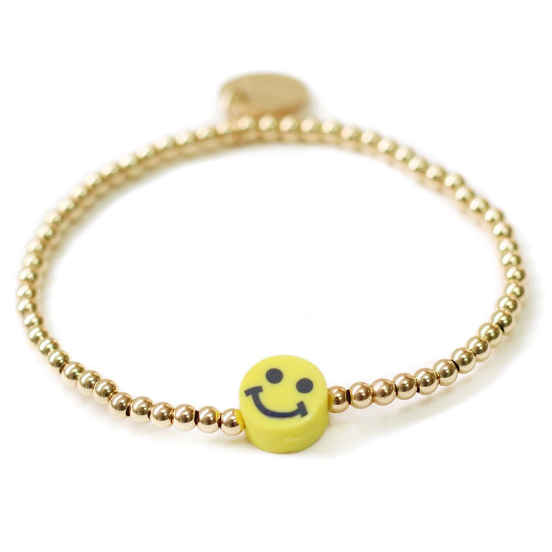 taudrey dont worry smiley face gold beaded bracelet