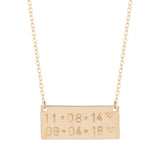 taudrey handcrafted personalized gold bar plate necklace double date