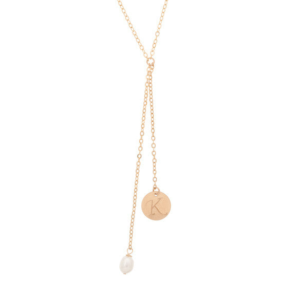 taudrey double initial y chain necklace gold hand stamped coin and pearl