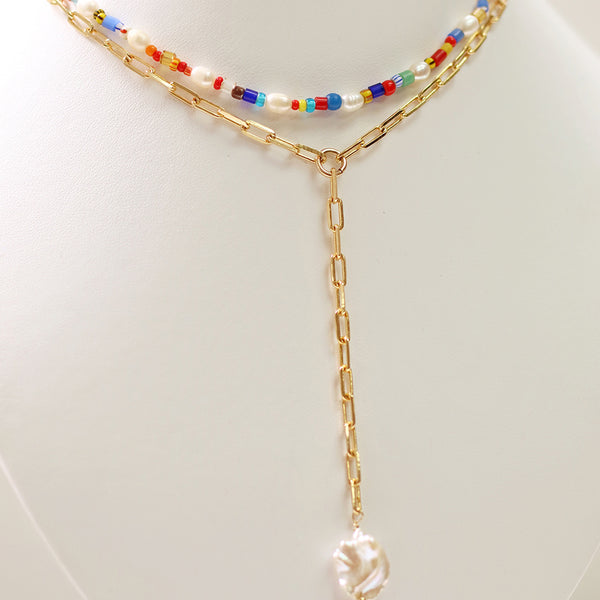 taudrey dream world necklace colorful beads wide link chain pearl plunge