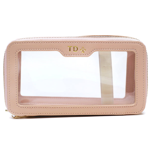 taudrey extra fun blush saffiano leather toiletry makeup case pouch personalized