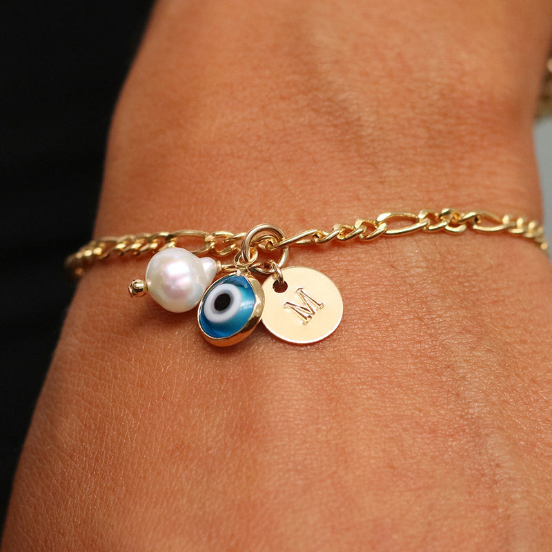 taudrey eye want it all cuban link dainty bracelet evil eye charm pearl detail gold personalized charm