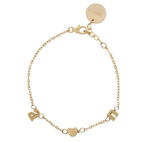 taudrey fairytale bracelet gold initial and heart details