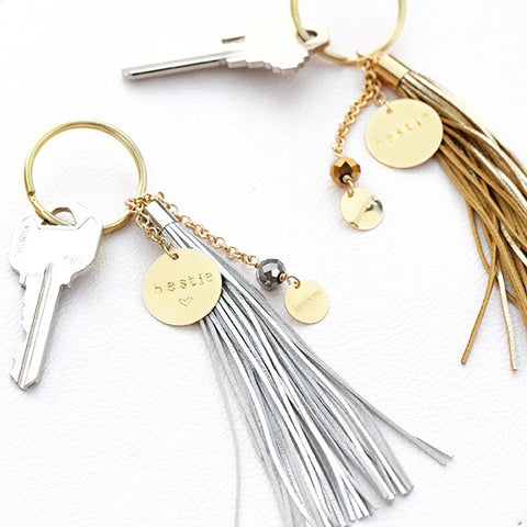 taudrey ride or die bestie best friend key chain personalized set gold silver leather tassel key chain set