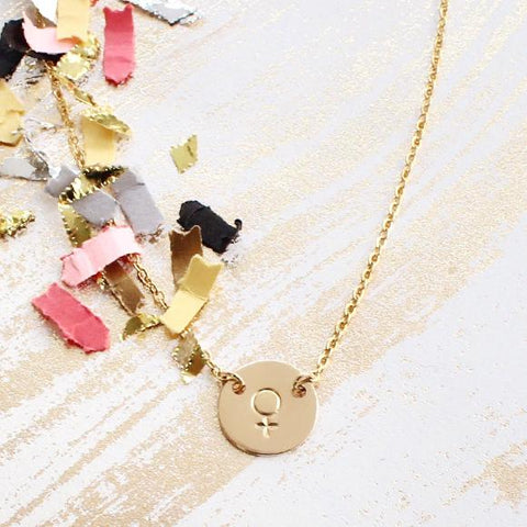 taudrey female venus symbol sign hand stamped dainty gold necklace