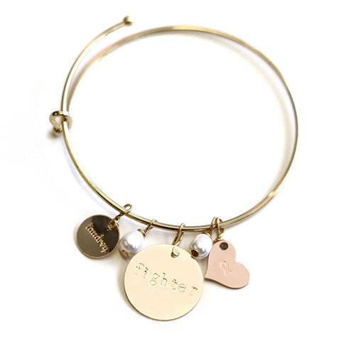 taudrey breast cancer awareness fighter coin bangle