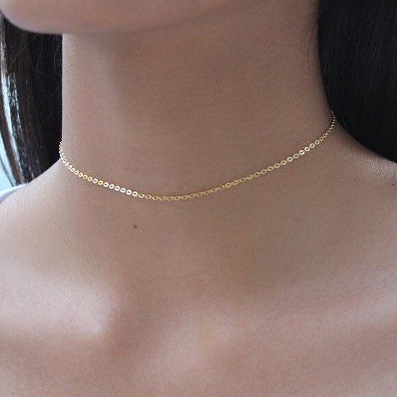 taudrey fine line gold necklace rose gold thin styled