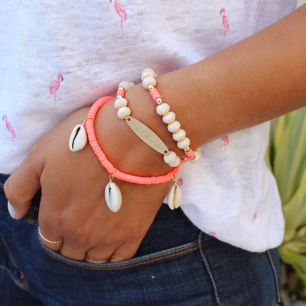 taudrey flamingo beaded bracelet set neon coral pale blush shell accents personalized bar