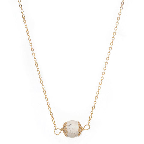 taudrey luli fama collaboration gold chain white turquoise bead hugging gold accents