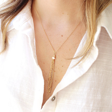 taudrey full swing necklace blush crystal bead accent with gold chain tassel