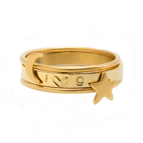 taudrey galaxy ring set three gold rings star crescent moon accent personalized band